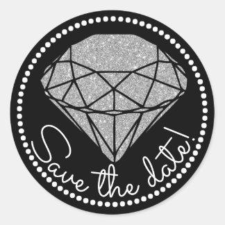 Save The Date | Black Silver & White | Diamond Classic Round Sticker
