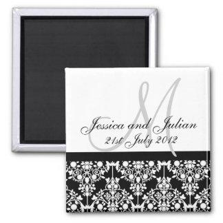 Save The Date Black/White Monogram Damask Trellis Square Magnet