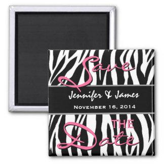 Save the Date Black White Pink Zebra Print Magnet