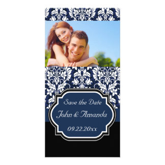 Save the Date ~ Blue and Black Damask Photo Greeting Card