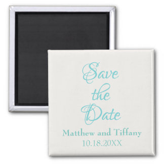 Save the Date Blue and Silver Wedding Magnet