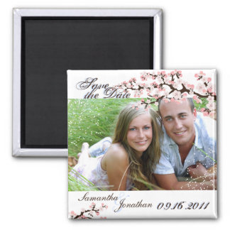 Save the Date Blue Cherry Blossom Floral Magnet