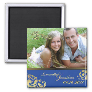 Save the Date Blue & Gold Shimmer Floral Magnet