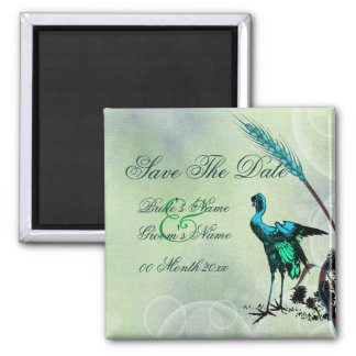 """Save the date"" blue green bird swirls Magnet"