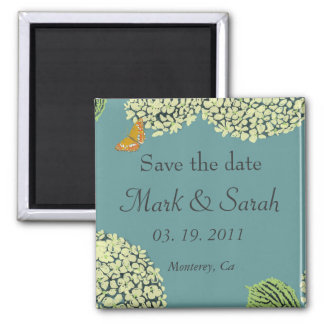 Save the Date Blue Hydrangea & Butterfly Magnet