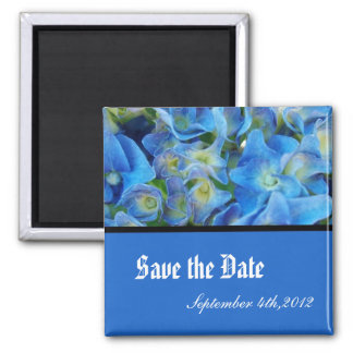save the date, blue hydrangea flowers magnet
