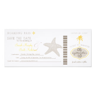 "Save the Date Boarding Pass 4"" X 9.25"" Invitation Card"