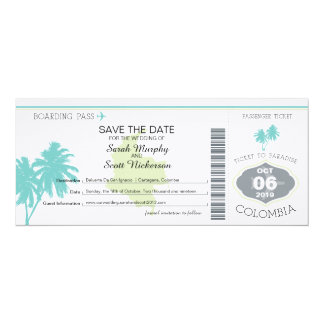 Save the Date Boarding Pass to Colombia Card