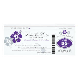 """Save the Date Boarding Pass to Hawaii 4"""" X 9.25"""" Invitation Card"""