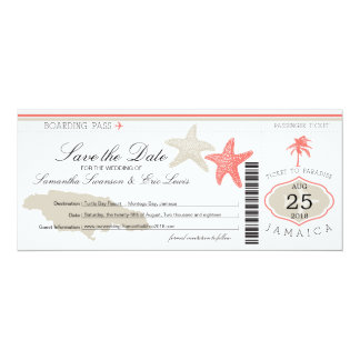 """Save the Date Boarding Pass to Jamaica 4"""" X 9.25"""" Invitation Card"""