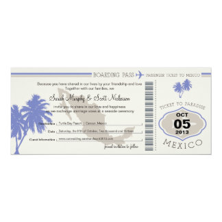 "Save the Date Boarding Pass to Mexico 4"" X 9.25"" Invitation Card"