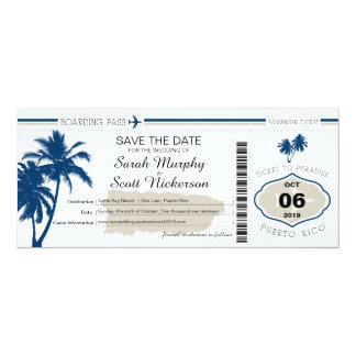 "Save the Date Boarding Pass to Puerto Rico 4"" X 9.25"" Invitation Card"