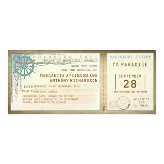save the date boarding pass-vintage tickets card