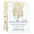 Save The Date Bohemian Dreamcatcher Faux Gold Foil Card