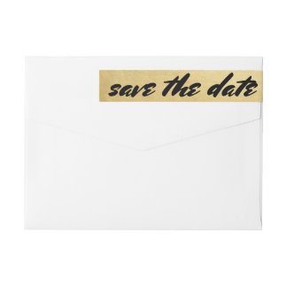 Save The Date Bold Typography Faux Gold Foil Wraparound Return Address Label