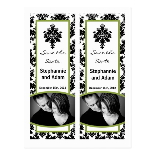 Save the Date Book Mark Favours Black Green Damask Postcard