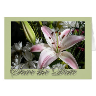 Save the Date Bouquet of Lilies Edwardian font Greeting Cards