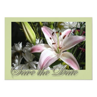 """Save the Date Bouquet of Lilies Invitation 5"""" X 7"""" Invitation Card"""