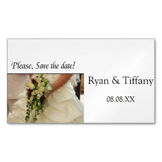 Save the Date Bride & Bouquet Business Card Magnet