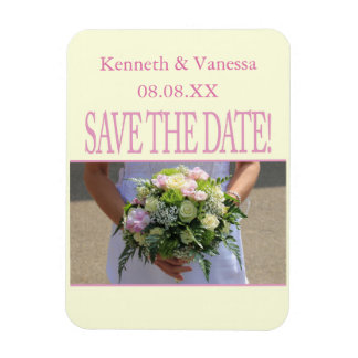 Save the Date Bride & Bouquet Rectangular Photo Magnet