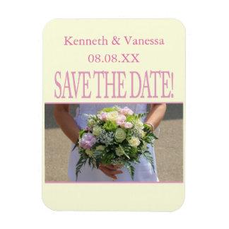 Save the Date Bride & Bouquet Rectangular Photo Magnet