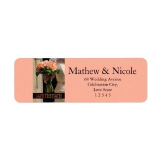 Save the Date Bride & Bouquet Return Address Label