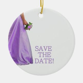 Save the Date Bride & Bouquet Round Ceramic Ornament