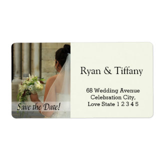 Save the Date Bride & Bouquet Shipping Label