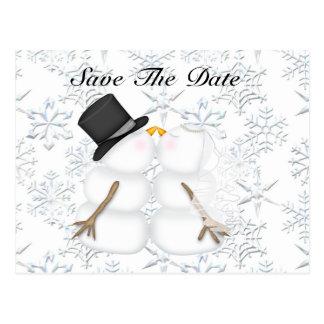 Save the Date BRIDE & GROOM Snowman Postcard