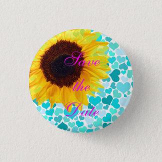 Save the Date Bride Sunflower Wedding Cute Hearts 1 Inch Round Button