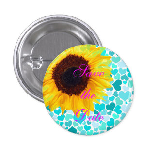 Save the Date Bride Sunflower Wedding Cute Hearts 1 Inch Round Button