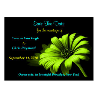 Save The Date Bright Green Yellow Daisy Business Card Templates