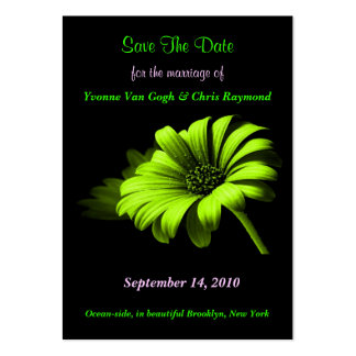 Save The Date Bright Green Yellow Daisy I Business Card