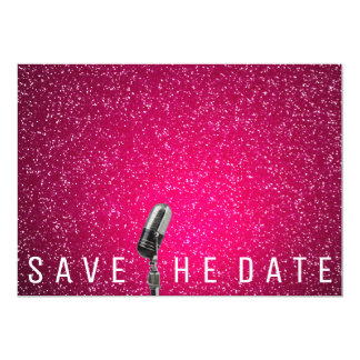 Save The Date Bright Pink Glitter Microfone Card