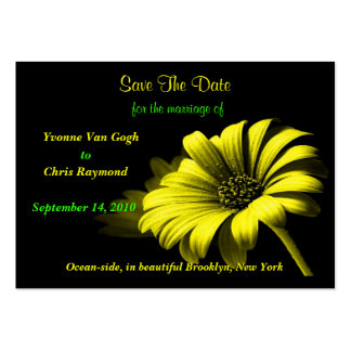 Save The Date Bright Yellow Daisy Business Card Template