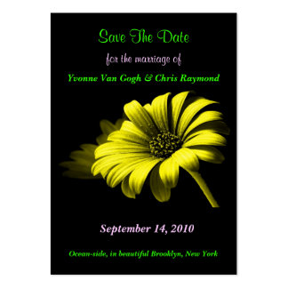 Save The Date Bright Yellow Daisy I Business Card Templates