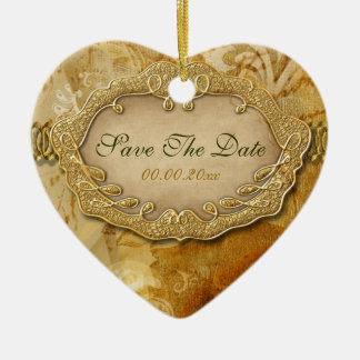 """""""Save the date"""" brown gold vintage wedding Ceramic Ornament"""