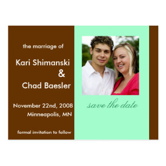 Save the date brown postcard