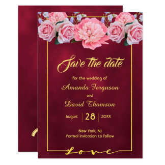 Save the date burgundy with pink flowers card