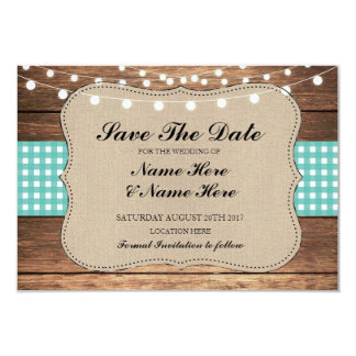 Save The Date Burlap Wood Rustic Teal Check Card