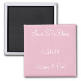 Save The Date Cameo Pink Square Magnet