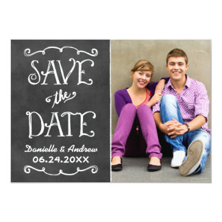 "Save the Date Card | Black Chalkboard Charm 5"" X 7"" Invitation Card"