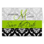 Save the Date Card Damask Green Initial Wedding