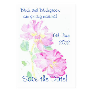 'Save the Date' Card, Romantic Pink Roses Business Card Template