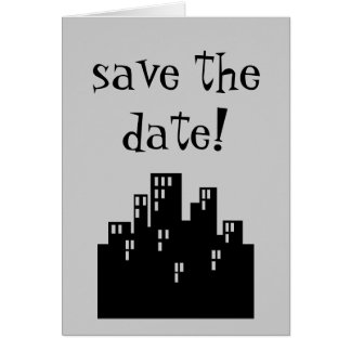 save the date! card with city skyline