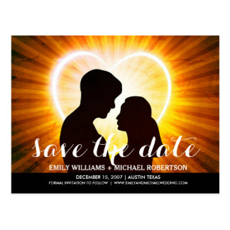 Save the date card with romantic couple