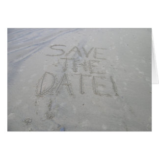 Save the date card, written in the sand card