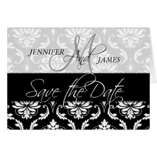 Save the Date Cards Damask Monogram for Weddings