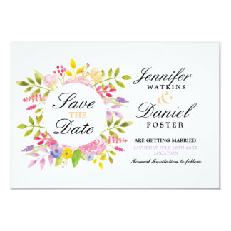 Save The Date Cards Floral Wedding Formal Wreath