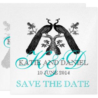 "Save the Date Cards Peacocks Monogram SIlver 5.25"" Square Invitation Card"